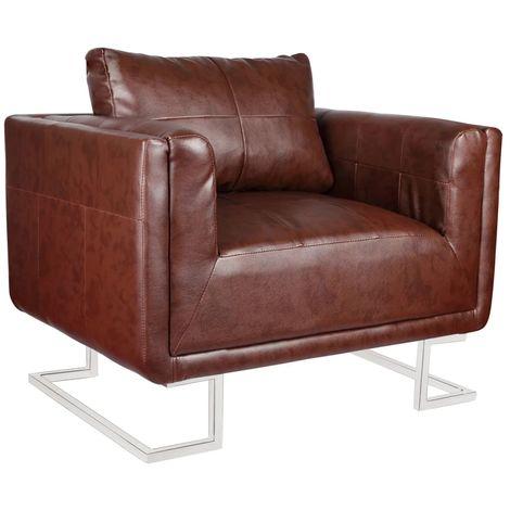 Hommoo Sillón con patas cromadas y cuero artificial marrón