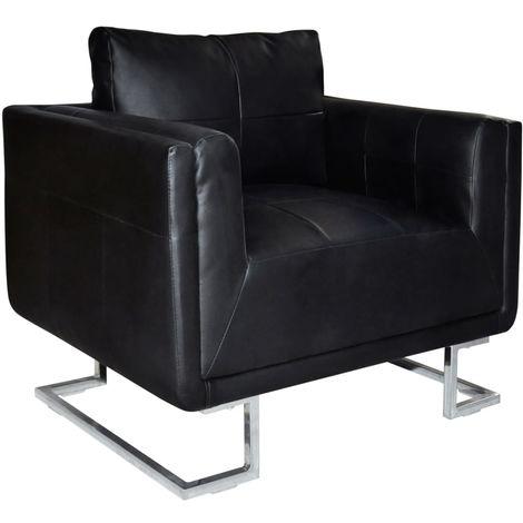 Hommoo Sillón con patas cromadas y cuero artificial negro