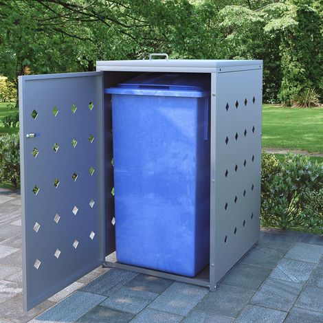Hommoo Single Wheelie Bin Shed 240 L Stainless Steel VD06510