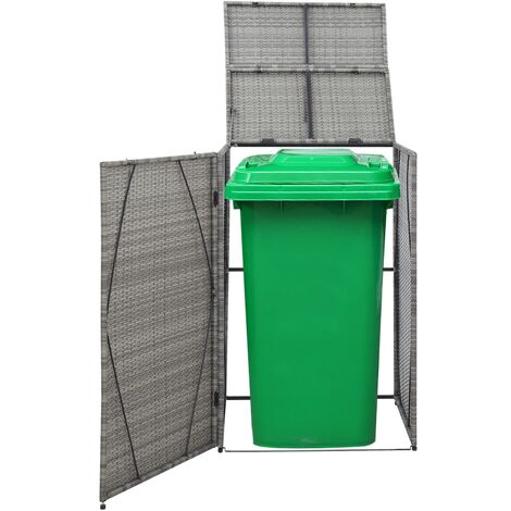 Hommoo Single Wheelie Bin Shed Anthracite 76x78x120 cm Poly Rattan QAH45637