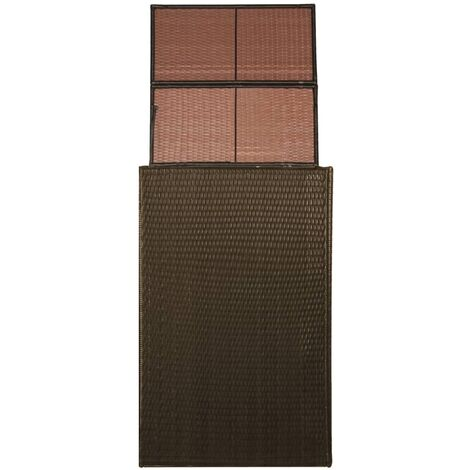 Hommoo Single Wheelie Bin Shed Poly Rattan 76x78x120 cm Brown QAH28448