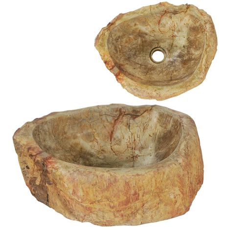 Hommoo Sink 45x35x15 cm Fossil Stone Cream VD04817