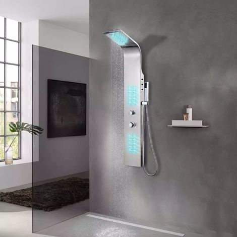 Hommoo Sistema de panel de ducha acero inoxidable curvo