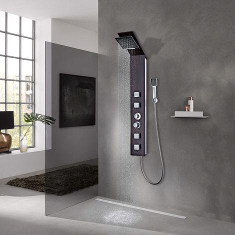 Hommoo Sistema de panel de ducha vidrio marrón
