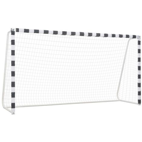 Hommoo Soccer Goal 300x160x90 cm Metal Black and White