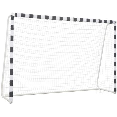 Hommoo Soccer Goal 300x200x90 cm Metal Black and White