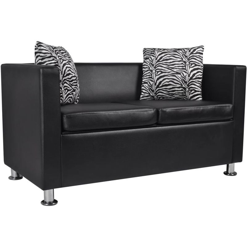 Sofa 2-Sitzer Kunstleder Schwarz VD09134 - Hommoo
