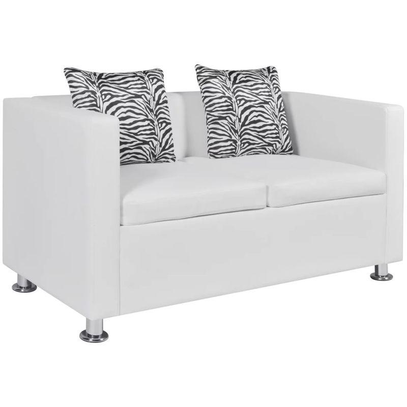 Sofa 2-Sitzer Kunstleder Weiß VD09137 - Hommoo