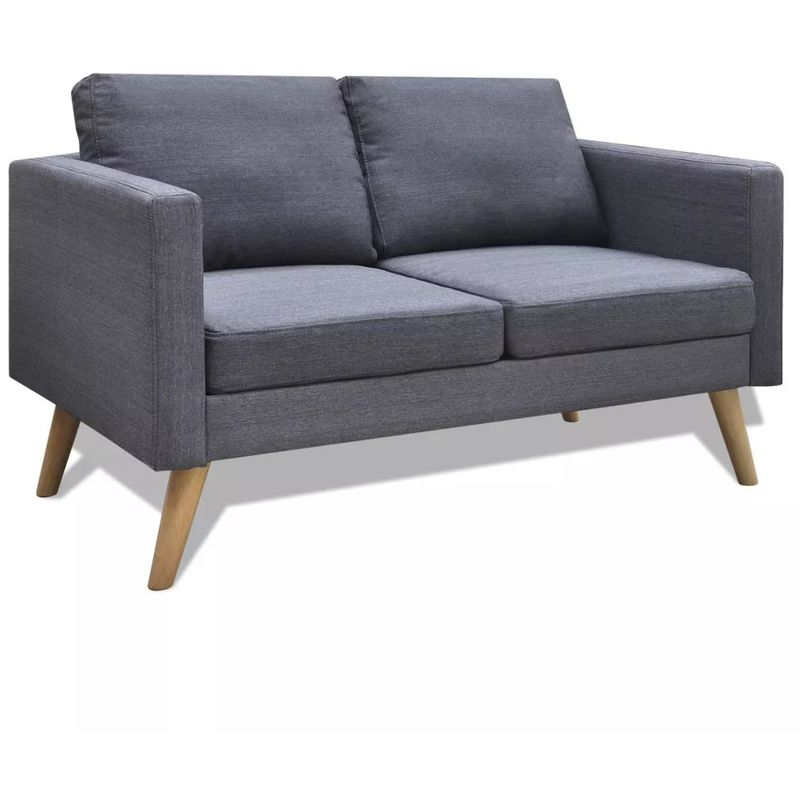Sofa 2-Sitzer Stoff Dunkelgrau VD09145 - Hommoo