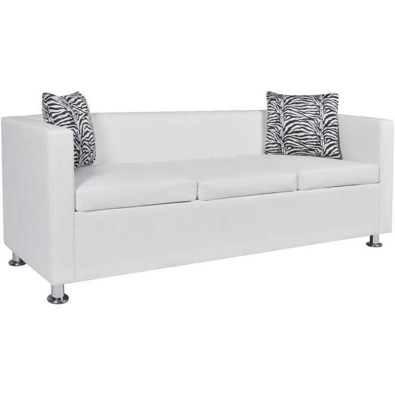 Sofa 3-Sitzer Kunstleder Weiß VD09136 - Hommoo