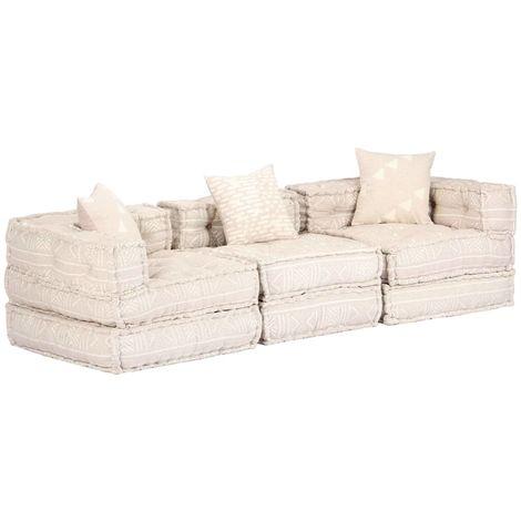 Hommoo Sofá cama modular de 3 plazas de tela beige