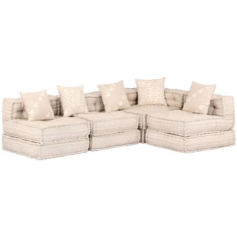 Hommoo Sofá cama modular de 4 plazas de tela beige