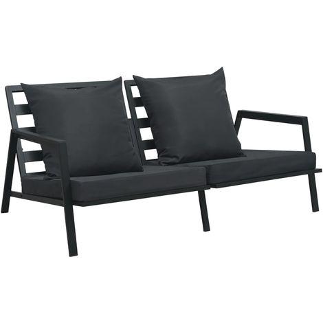 Hommoo Sofá de jardín de 2 plazas con cojines aluminio gris oscuro