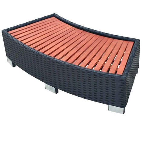 Hommoo Spa Step Poly Rattan 92x45x25 cm Black