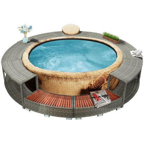 Hommoo Spa Surround Grey Poly Rattan
