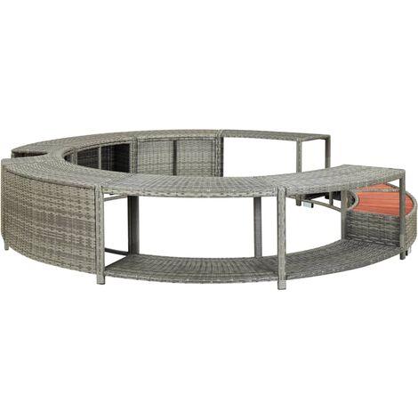Hommoo Spa Surround Grey Poly Rattan QAH30002