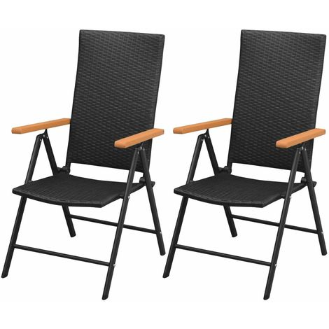 Hommoo Stackable Garden Chairs 2 pcs Poly Rattan Black
