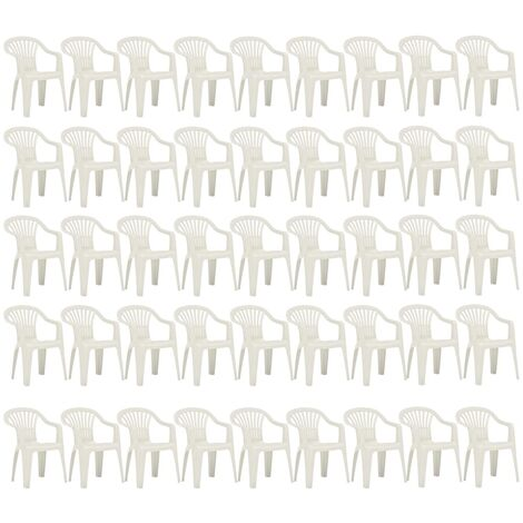 Hommoo Stackable Garden Chairs 45 pcs Plastic White QAH48307