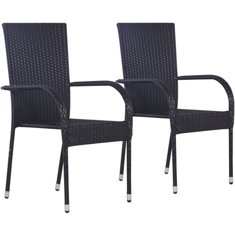 Hommoo Stackable Outdoor Chairs 2 pcs Poly Rattan Black