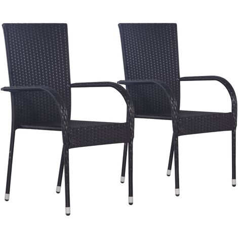 Hommoo Stackable Outdoor Chairs 2 pcs Poly Rattan Black QAH28445