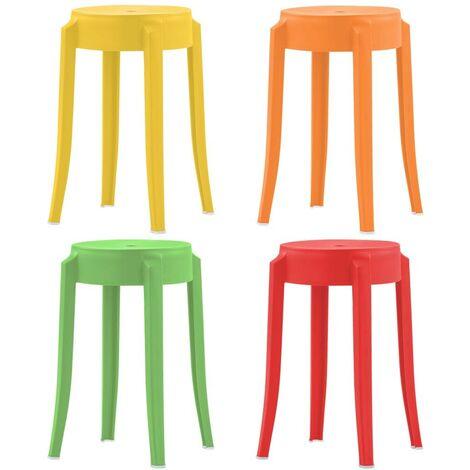 Hommoo Stackable Stools 4 pcs Multicolour Plastic