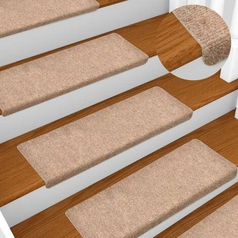 Hommoo Stair Mats 15 pcs Needle Punch 65x25 cm Brown VD34782