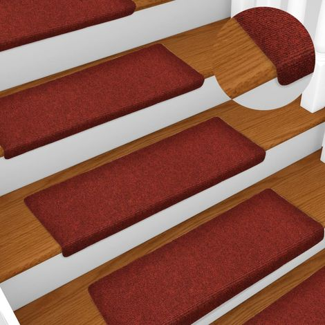 Hommoo Stair Mats 15 pcs Needle Punch 65x25 cm Red