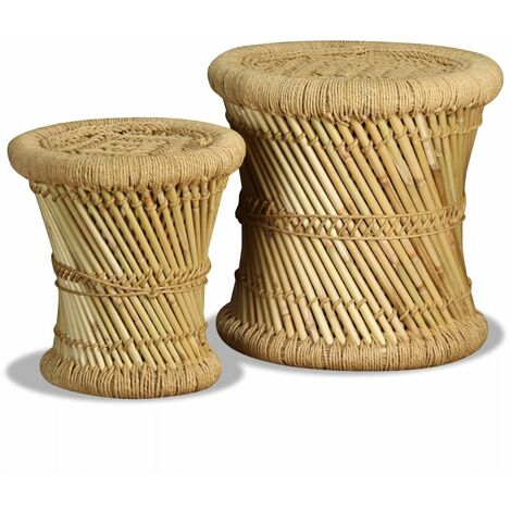 Hommoo Stools 2 pcs Bamboo and Jute QAH10375