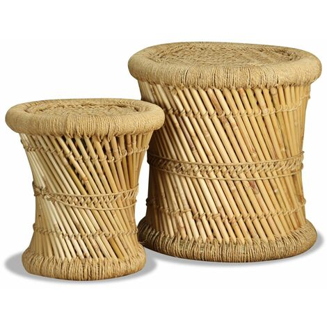 Hommoo Stools 2 pcs Bamboo and Jute VD10375