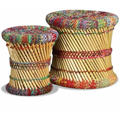 Hommoo Stools with Chindi Details 2 pcs Multicolour Bamboo VD10370
