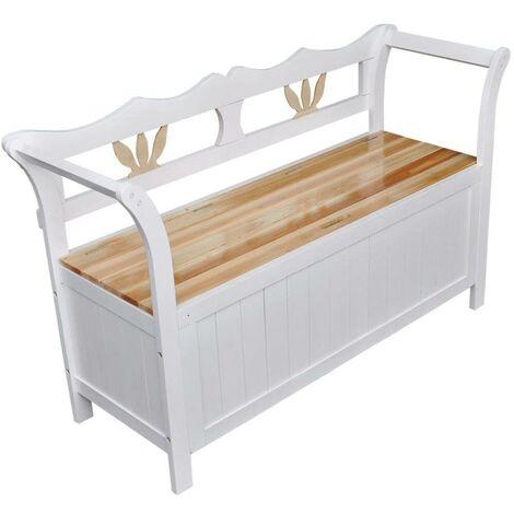 Hommoo Storage Bench 126x42x75 cm Wood White