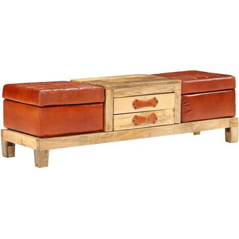 Hommoo Storage Bench Solid Mango Wood Real Leather 120x36x36 cm