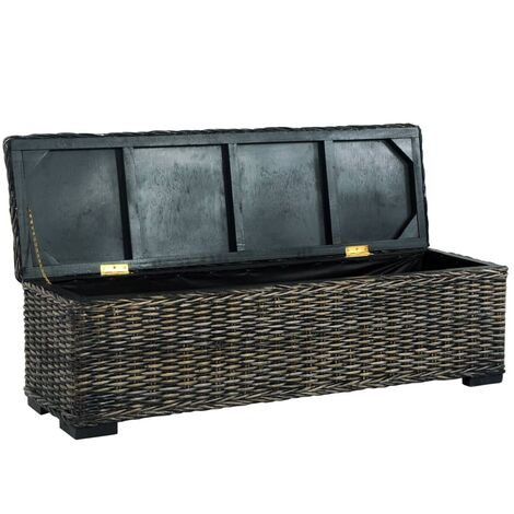 Hommoo Storage Box 120 cm Black Kubu Rattan and Solid Mango Wood QAH36480