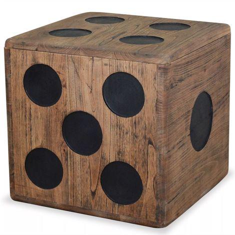Hommoo Storage Box Mindi Wood 40x40x40 cm Dice Design