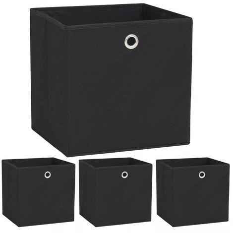 Hommoo Storage Boxes 4 pcs Non-woven Fabric 32x32x32 cm Black VD11694