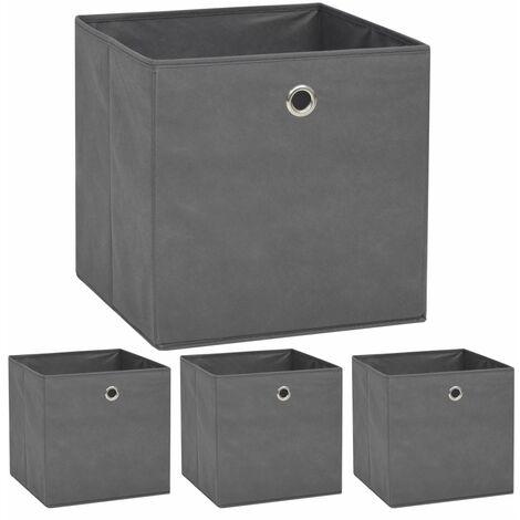 Hommoo Storage Boxes 4 pcs Non-woven Fabric 32x32x32 cm Grey QAH11696