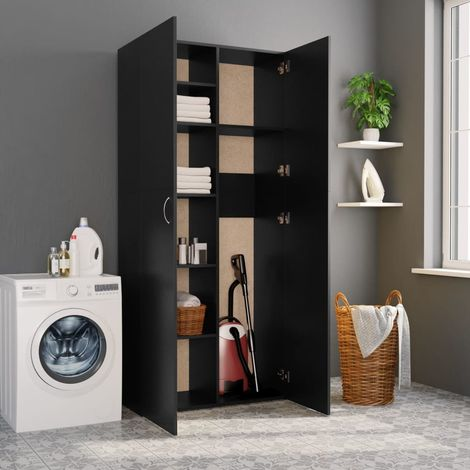 Hommoo Storage Cabinet Black 80x35.5x180 cm Chipboard