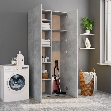 Hommoo Storage Cabinet Concrete Grey 80x35.5x180 cm Chipboard