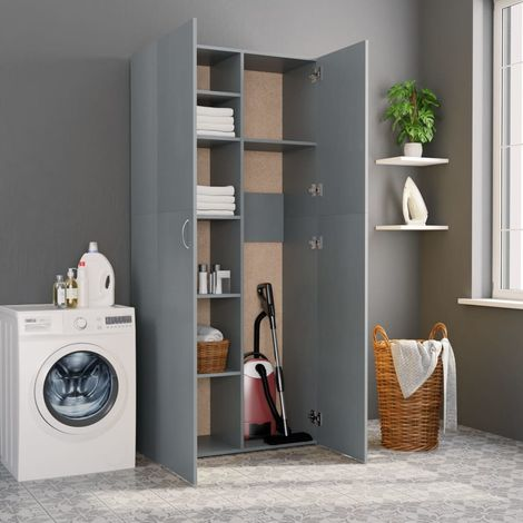 Hommoo Storage Cabinet Grey 80x35.5x180 cm Chipboard
