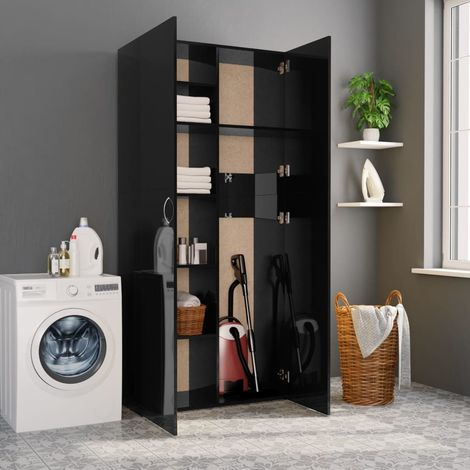 Hommoo Storage Cabinet High Gloss Black 80x35.5x180 cm Chipboard