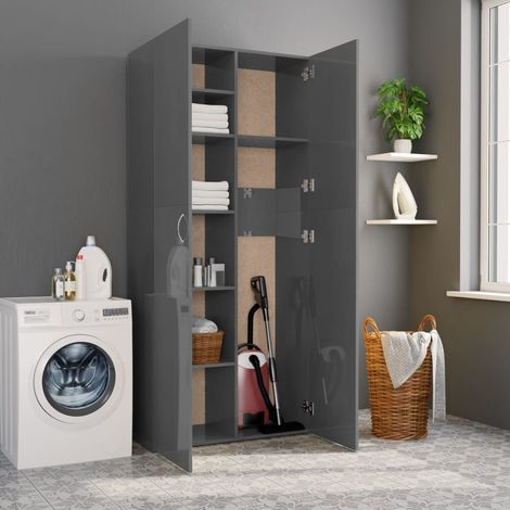 Hommoo Storage Cabinet High Gloss Grey 80x35.5x180 cm Chipboard