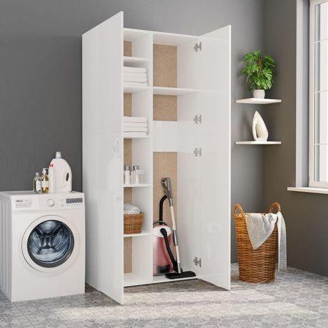Hommoo Storage Cabinet High Gloss White 80x35.5x180 cm Chipboard