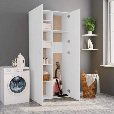 Hommoo Storage Cabinet White 80x35.5x180 cm Chipboard