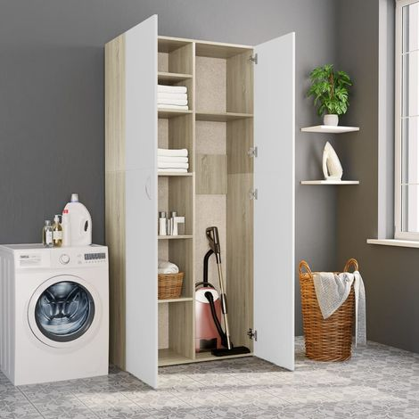 Hommoo Storage Cabinet White and Sonoma Oak 80x35.5x180 cm Chipboard