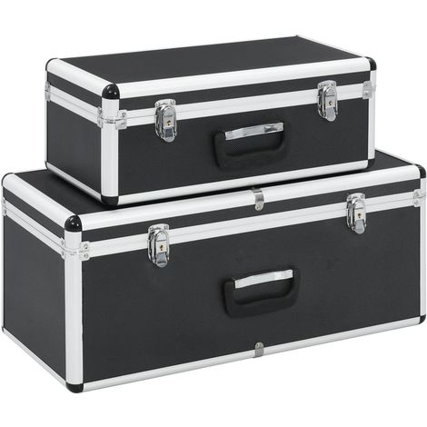 Hommoo Storage Cases 2 pcs Black Aluminium