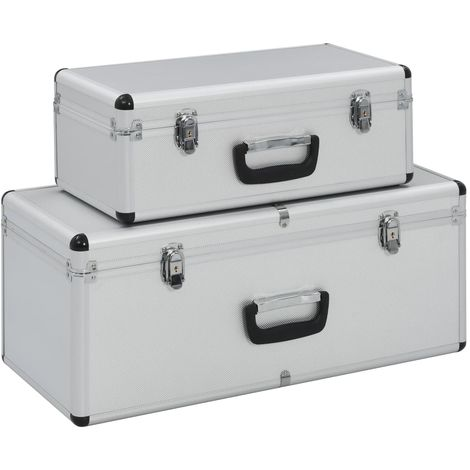 Hommoo Storage Cases 2 pcs Silver Aluminium