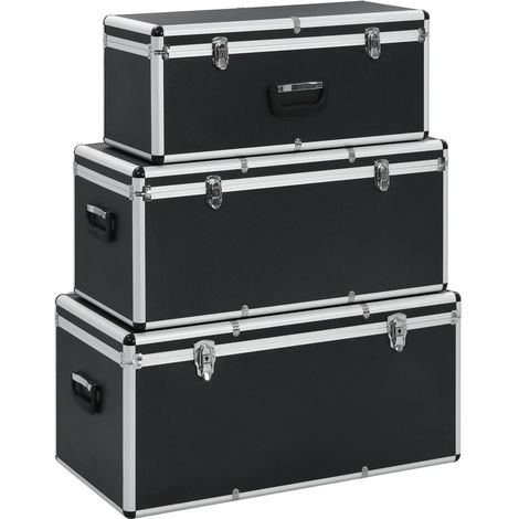 Hommoo Storage Cases 3 pcs Black Aluminium