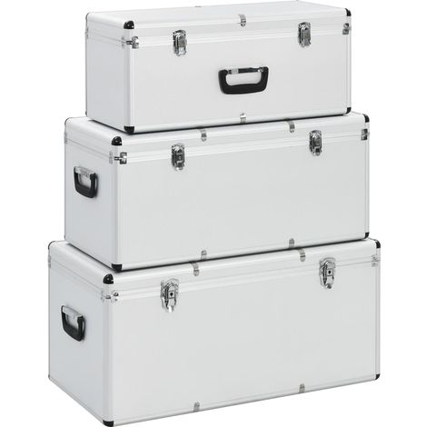 Hommoo Storage Cases 3 pcs Silver Aluminium