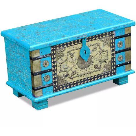 Hommoo Storage Chest Blue Mango Wood 80x40x45 cm