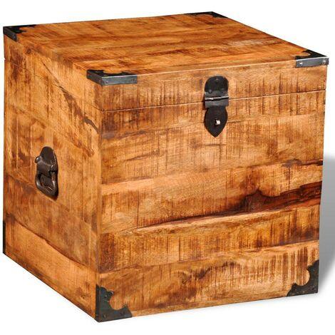 Hommoo Storage Chest Cubic Rough Mango Wood